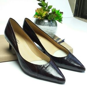 Classic Vaneli pointed toe brown leather pumps